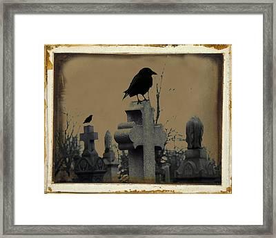 Dark Aged Crow Graveyard Framed Print