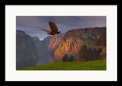 Eagle Digital Art Framed Prints