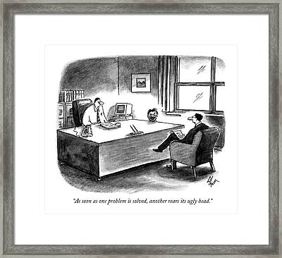 As Soon As One Problem Is Solved Framed Print by Frank Cotham