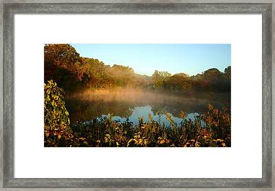 As The Sun And Mist Rise The Day Begins Framed Print