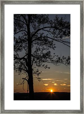 As The Sun Fades Behind The Mountian Framed Print