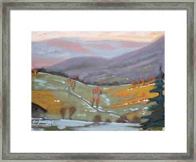 Framed Print featuring the painting As The Sun Sets by Len Stomski