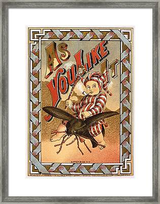 As You Like It Vintage Label Framed Print by Hatch and Company New York