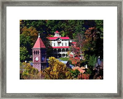 Asa Packer Mansion With Court House In Jim Thorpe Pa Framed Print by Jacqueline M Lewis