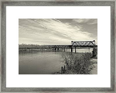 Framed Print featuring the photograph Asb Bridge Over The Missouri River by Karen Kersey