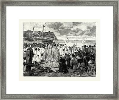 Ascension Day At Etretat The Ceremony Of Blessing The Sea Framed Print