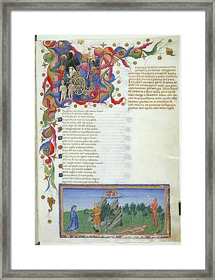 Ascent From Earthly Paradise Framed Print by British Library