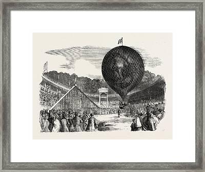 Ascent Of Mr. Hamptons Erin-go-bragh Balloon Framed Print by English School