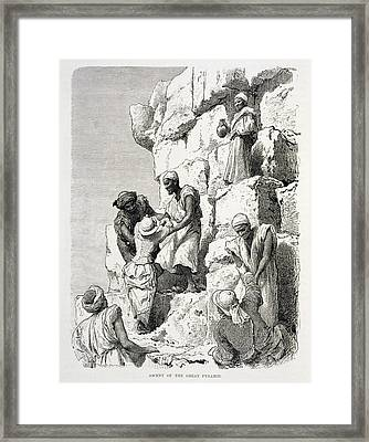 Ascent Of The Great Pyramid, 19th Century Engraving On Paper Framed Print by Rudolf Carl Huber