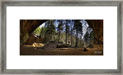Ash Cave Pano - Spring 2014 Framed Print