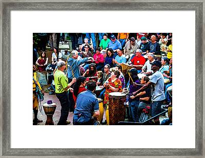 Asheville Drum Circle Framed Print by John Haldane