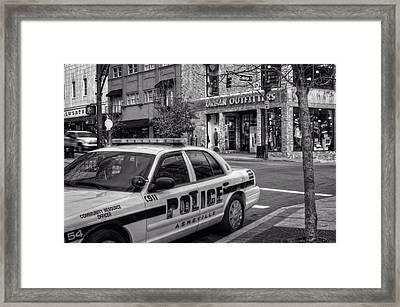Asheville Pd Car 54 In Black And White Framed Print