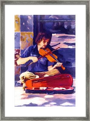 Asheville Street Concerto Framed Print by John Haldane