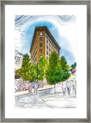Ashevilles Flat Iron Building Framed Print by John Haldane