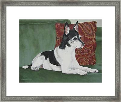 Ashley On Her Sofa Framed Print