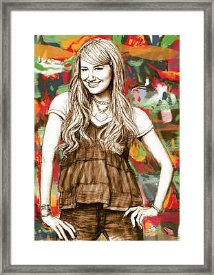 Ashley Tisdale - Stylised Drawing Art Poster Framed Print by Kim Wang