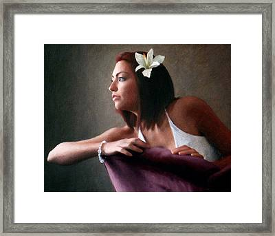 Ashley With Flower Framed Print by Charles Pompilius