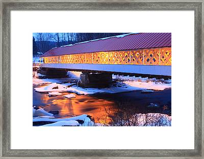 Ashuelot Covered Bridge Winter Reflection Framed Print by John Burk