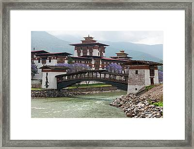 Asia, Bhutan Cantilevered Foot Bridge Framed Print
