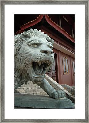 Asia, Vietnam Lion Sculpture At Chau Framed Print by Kevin Oke