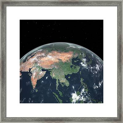 Asia With Sea Level Rise Framed Print by Walter Myers