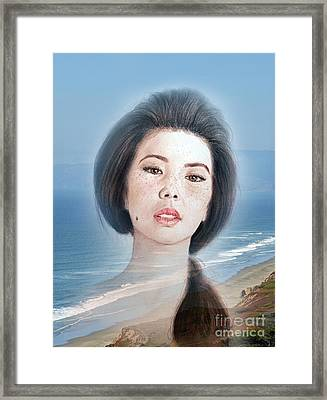 Asian Beauty Fade To Ocean Photograph Framed Print by Jim Fitzpatrick
