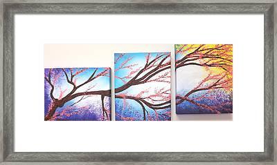 Asian Bloom Triptych Framed Print