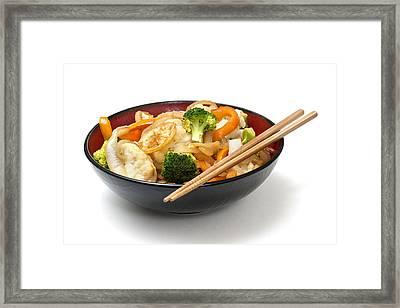 Asian Cauliflower Broccoli Stir Fry Framed Print by Donald  Erickson