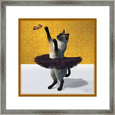 Asian Design Blue Siamese Ballet Cat On Paw-te  Framed Print by Andre Price