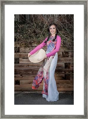 Asian Girl. Hat. Framed Print