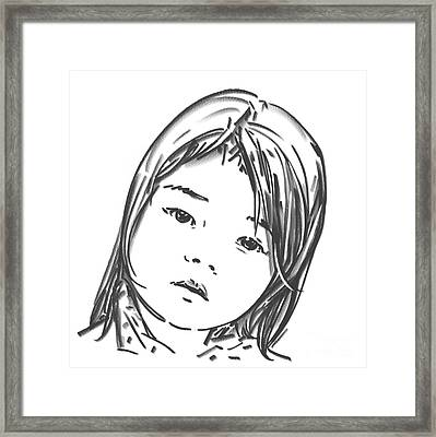 Framed Print featuring the drawing Asian Girl by Olimpia - Hinamatsuri Barbu