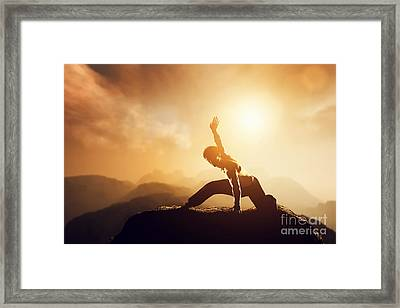 Asian Man Fighter Practices Martial Arts Framed Print