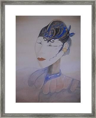 Asian Mask Framed Print by Marian Hebert