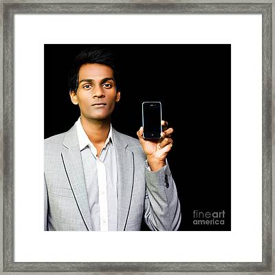 Asian Phone Salesman Framed Print by Jorgo Photography - Wall Art Gallery