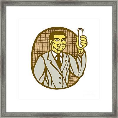 Asian Scientist Test Tube Woodcut Linocut Framed Print