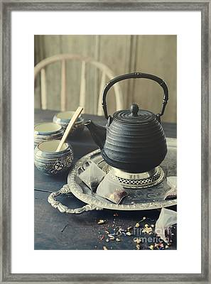 Asian Teapot With Cups And Herbal Bags Of Tea Framed Print by Sandra Cunningham