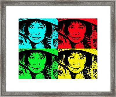 Asian Woman Wearing A Conical Hat Altered Framed Print