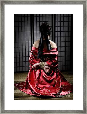 Asian Woman With Her Hands Tied Behind Her Back Framed Print by Oleksiy Maksymenko