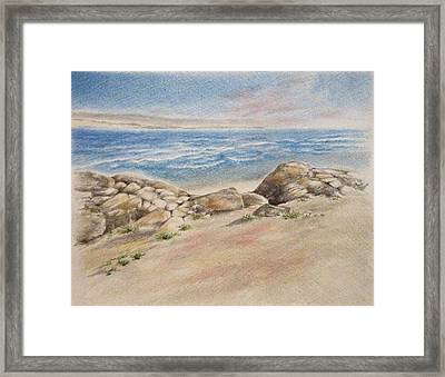 Asilomar Rocks Framed Print by Renee Goularte