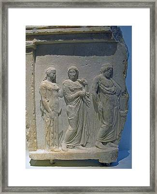 Asklepios With Hygeia Framed Print by Andonis Katanos