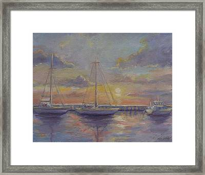 Asleep At The Marina Framed Print by Sarah Parks