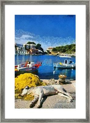 Asos Village In Kefallonia Island Framed Print by George Atsametakis