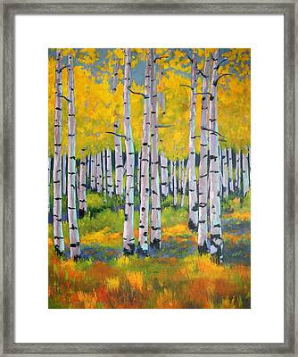 Framed Print featuring the painting Aspen Color by Nancy Jolley