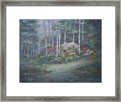 Framed Print featuring the painting Aspen Grove by Roena King