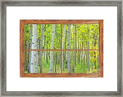 Aspen Tree Forest Autumn Picture Window Frame View  Framed Print