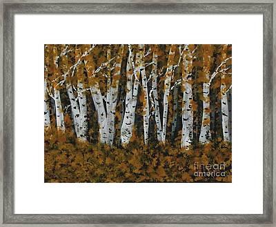 Aspen Trees Ablaze Framed Print