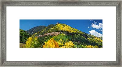 Aspen Trees On Mountain, Needle Rock Framed Print by Panoramic Images