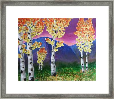 Aspens And Mountains IIi Framed Print by Elizabeth Golden