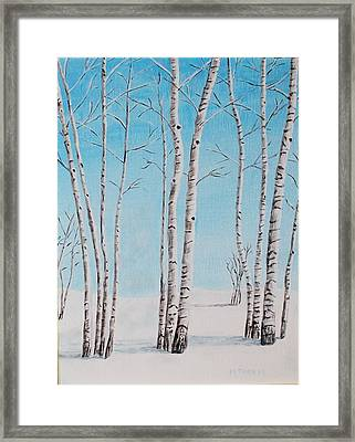 Aspens In Snow Framed Print