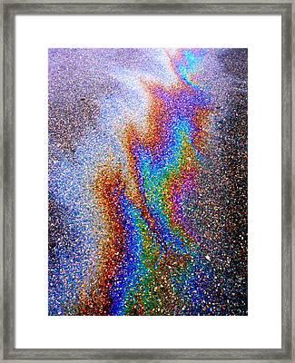 Asphalt Oil Slick Framed Print